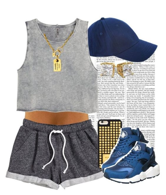 """""""Navy x Gray"""" by livelifefreelyy ❤ liked on Polyvore featuring Nicki Minaj, H&M, MICHAEL Michael Kors, NIKE and Chanel"""