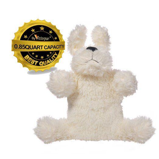 彼得潘可爱的毛绒小狗狗0.8升热水袋和封面,以高品质的非过敏织物制成,允许传热迅速,舒缓疼痛,米色