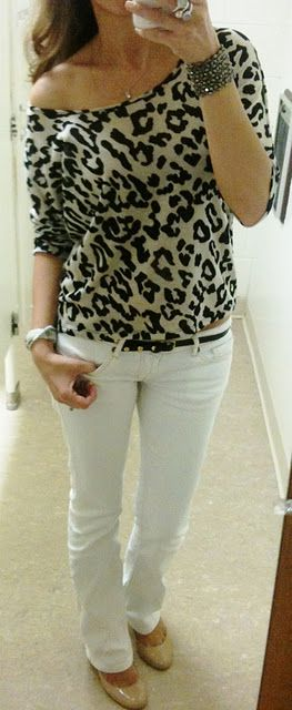 I'm an animal print junkie!  Love the nude patent leather flats with this too.