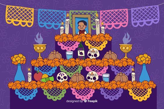 Fondo De Dia De Muertos Dibujado A Mano Vector Gratuito Free Vector Freepik Vector Freef Altar De Muertos Dibujo Dia De Muertos Fondos De Halloween Iphone