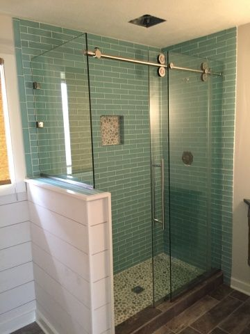 Love The Sliding Glass Barn Door With The Half Wall Half Wall Shower Sliding Shower Door Glass Shower Enclosures