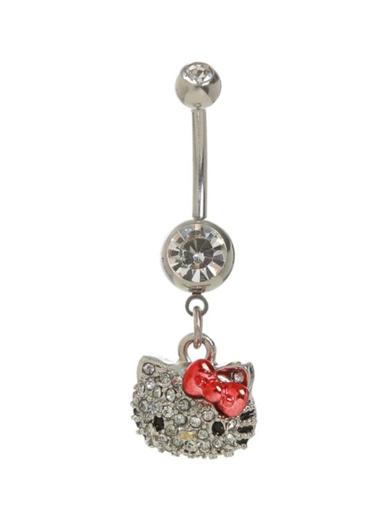 Navel barbell with clear gem accented Hello Kitty head and beads.