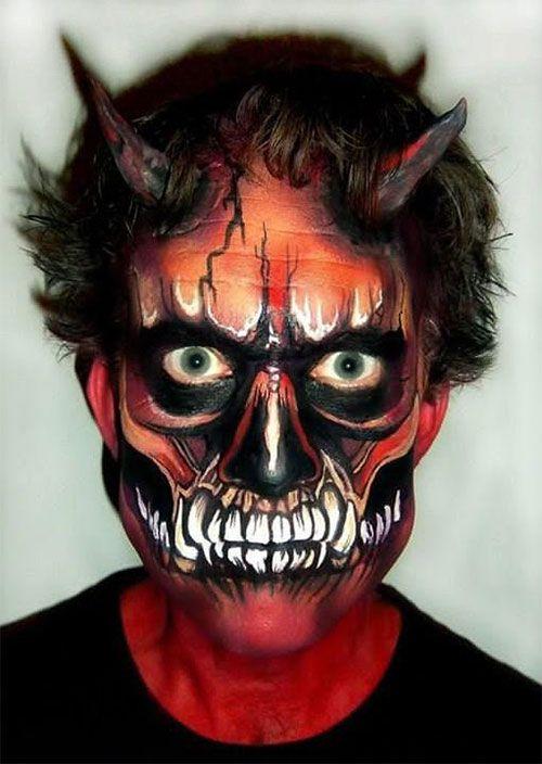 25 Unique Halloween Face Paints Ideas For Kids Men Women 2018 21 Face Painting Halloween Scary Face Paint Monster Makeup