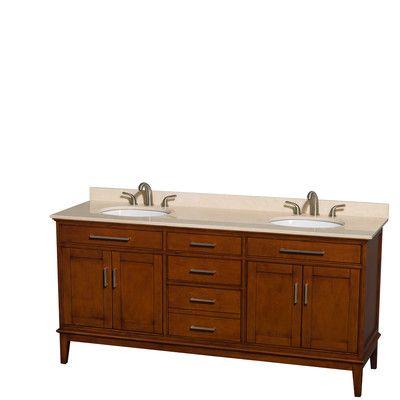 "Wyndham Collection Hatton 72"" Double Bathroom Vanity Base Finish: Light Chestnut, Top Finish: Ivory"