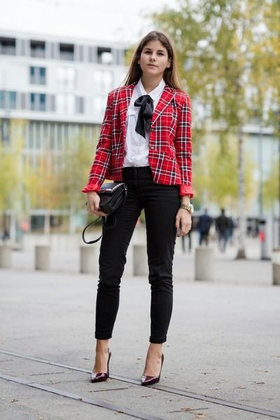"Red Tartan Jackets, Black J Brand Jeans, Maroon Semilla Pumps | ""TARTAN, READY, GO!"" by thefashionfraction"