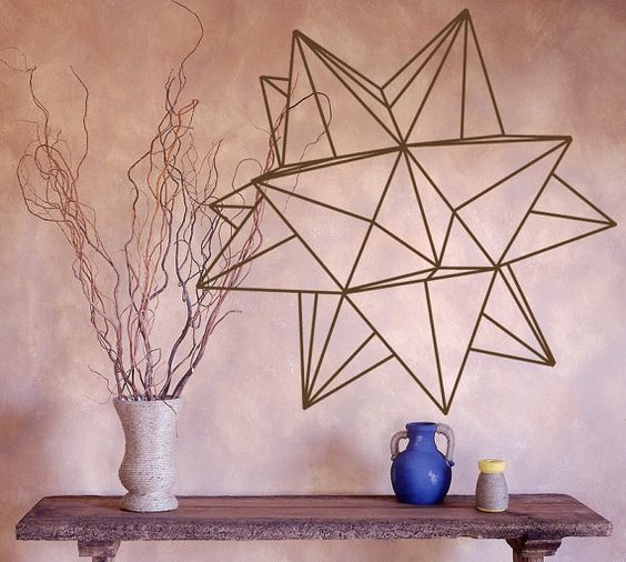 origami star geometric vinyl wall decal vinyls beautiful and origami. Black Bedroom Furniture Sets. Home Design Ideas