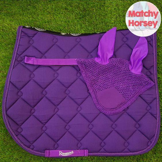 Rhinegold Elite Diamond Purple Saddle Pad Fly Veil Set Matchy Horsey Purple Diamond Quilt Tendon Boots