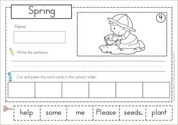 spring sentence scramble with cut and paste worksheets pocket charts cut and paste and activities. Black Bedroom Furniture Sets. Home Design Ideas