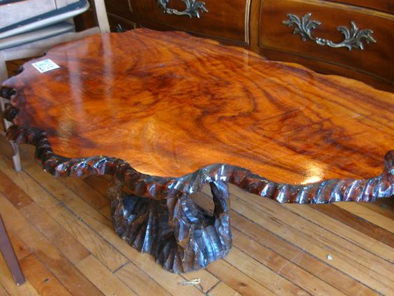 Classic Style Solid Rustic Tree Trunk Coffee Table Design With Clear Finish Furniture Stump