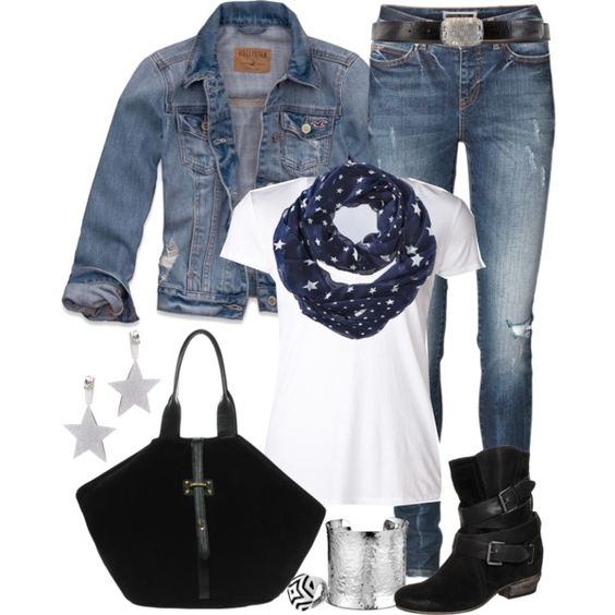 """Scarf and a Tee"" by angela-windsor on Polyvore"