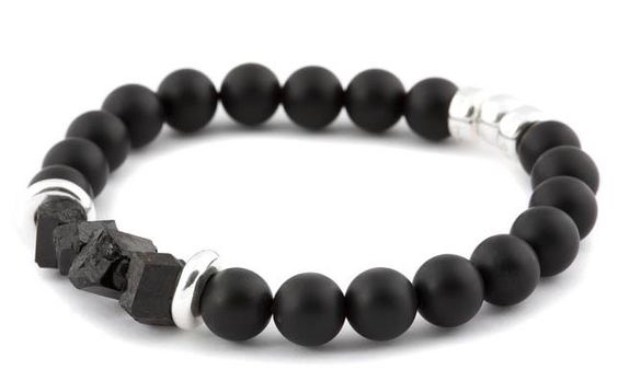 [BRACELET BE DARING NOIR / BLACK BE DARING BRACELET] Bracelet pour hommes en onyx mat 10mm, tourmaline argent 925. | Bracelet for men in 10mm matte onyx, tourmaline and sterling silver.
