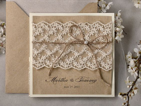 recyclage de papier faire part de mariage dentelle poche plier rustique invitation invitation. Black Bedroom Furniture Sets. Home Design Ideas