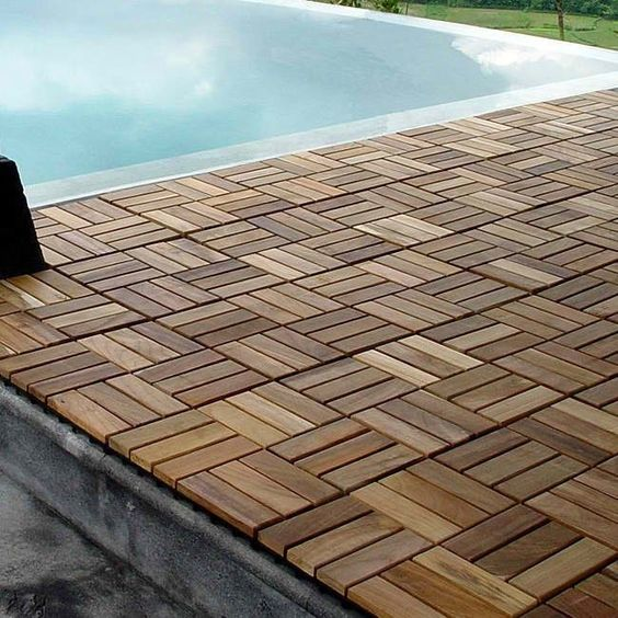 Wood teak flooring interlocking deck tiles pool patio hot for Hardwood outdoor decking