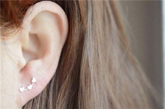Heart stud earrings sterling silver heart by SilverLiningsByNoel