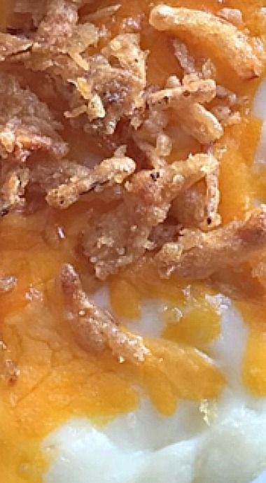 Mashed Potato Bake - contrasting textures of creamy potatoes and cheddar plus crispy french fried onions make this side dish a true crowd pleaser! ❊