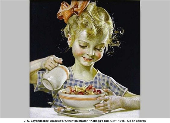 """J.C. Leyendecker was one of the pre-eminent American illustrators of the early 20th century. He is best known for his poster, book and advertising illustrations, the trade character known as The Arrow Collar Man, and his numerous covers for The Saturday Evening Post.  This illustration was for a Kelloggs ad....titled """"Kellogg's Kid, Girl"""".   It was done in 1916."""