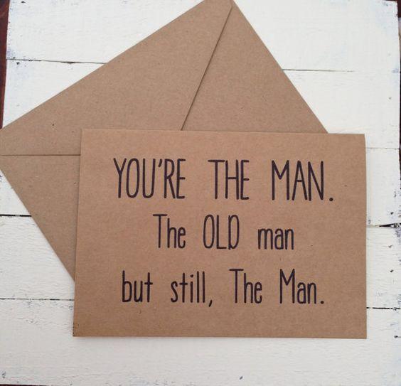 HAPPY BIRTHDAY MAN Rustic Kraft Card - Kraft Greeting Card - Funny Husband or Dad Humor - Birthday Card - 5x7 Greeting Card - old