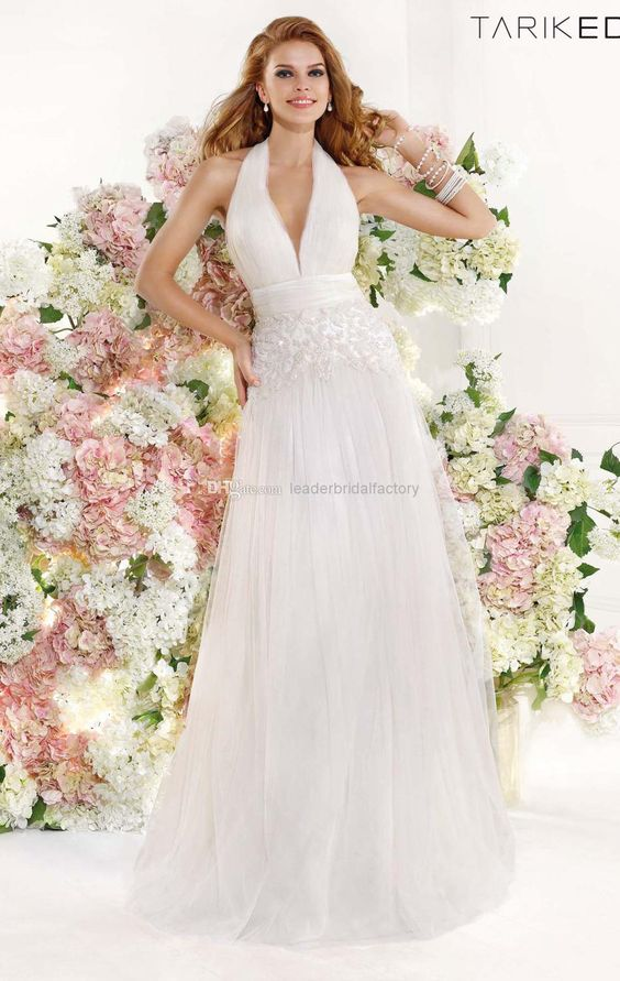Newest White Beach Wedding Dresses A-line Halter Backless A-Line Wedding Dresses | Buy Wholesale On Line Direct from China