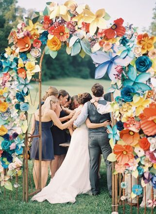 Colorful paper flower wedding