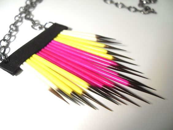 Southwest Porcupine Quill Hot Magenta and Yellow by RawEarthStudio, $36.00