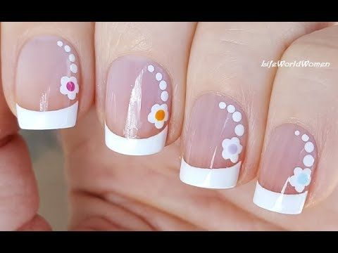French Manicure On Short Nails With Dotting Tool Flowers Youtube Manicure French Manicure Designs Manicures Designs