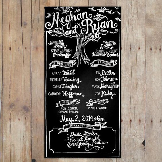 Large Wedding Chalkboard | Program | Hand-Lettered | Custom Chalk Art