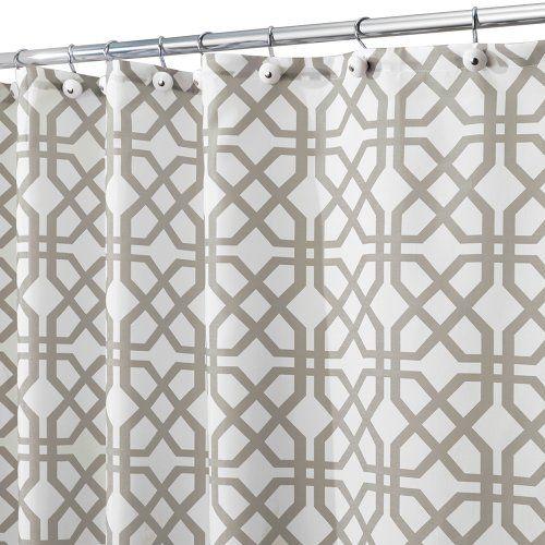 InterDesign 1-Piece 180 x 200 cm Trellis Shower Curtain, Stone ...