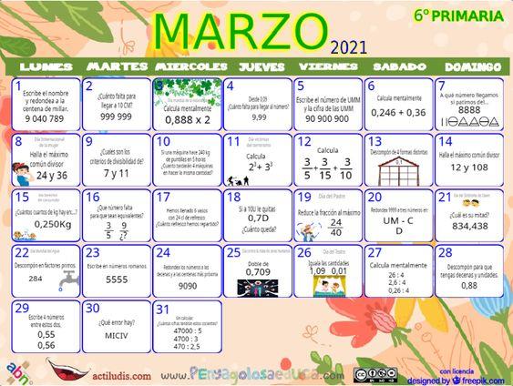 Calendario Sexto ABN – Marzo 2021