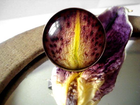 Die Lilie steht für REINHEIT und GESUNDHEIT, also ein besonders schöner Talisman für den Finger...    Echte Lilienblätter