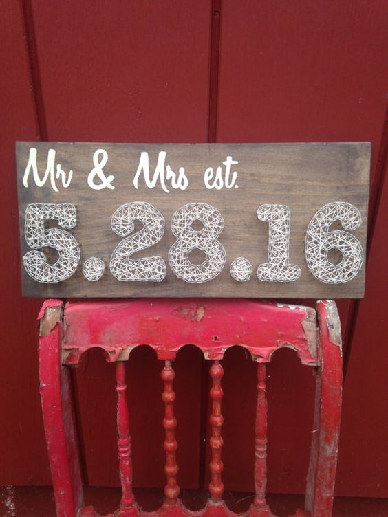 Wedding Date String Art - Anniversary Date - Mr and Mrs - Rustic Wedding - Home…