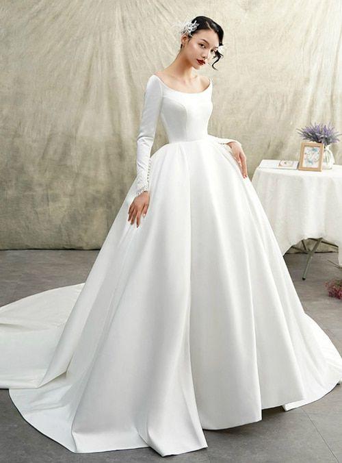 White Ball Gown Satin Bateau Long Sleeve Wedding Dress With Train Long Sleeve Princess Wedding Dresses Ball Gowns Wedding Winter Wedding Dress