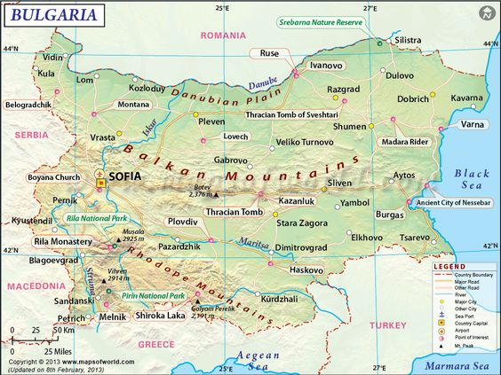 България/ Bulgaria- Image from http://www.mapsofworld.com/bulgaria/maps/bulgaria-map.gif.