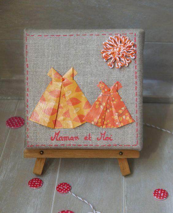 cadre en origami avec robes d coration de chambre de petite fille cadeau jeune maman. Black Bedroom Furniture Sets. Home Design Ideas