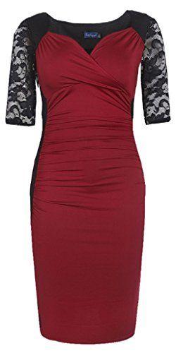 Sapphyra® Women's Plus V Neck Lace Sleeve Illusion Cocktail Dress Size 1X-5X