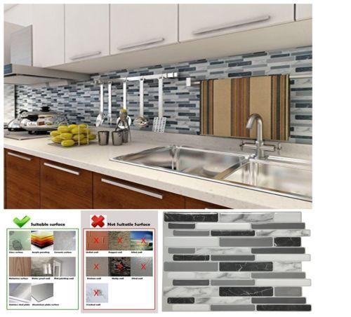 Peel And Stick Wall Tile Kitchen Backsplash Sticker 10 Sheets 12