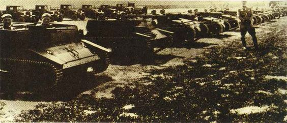 Polish TK tankettes line-up for manoeuvre. This armored combat vehicles had no chance against German tanks.