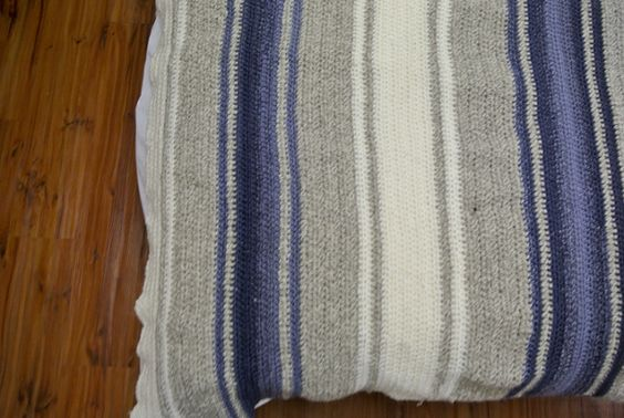 Pretty textured striped blanket crocheted by Day Is Night, with a few modifications, based on The Crafty Mummy's free pattern + tutorial for the Rainbow Blanket ~ http://thecraftymummy.com/2012/07/crochet-rainbow-blanket-tutorial/  Very simple pattern of only HDC stitches.  #crochet #afghan #throw