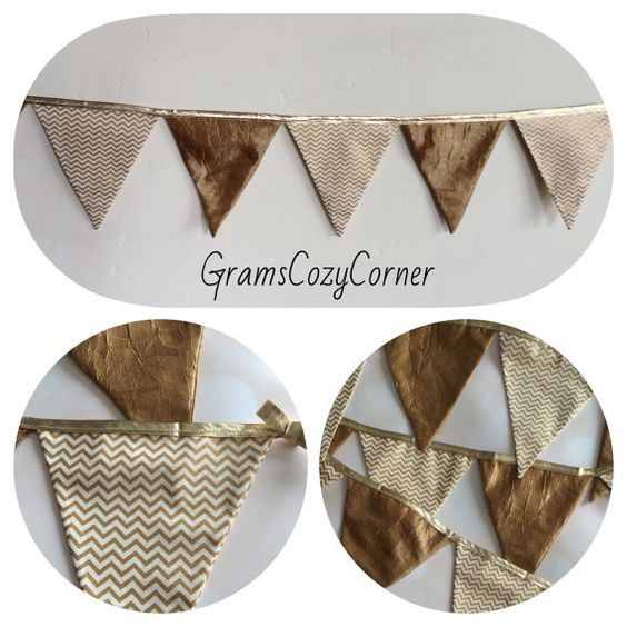 Caramel crinkle and gold metallic chevron by GramsCozyCorner
