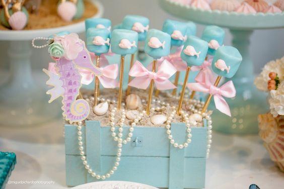 Marshmallow pops from a Pastel Mermaid Birthday Party via Kara's Party Ideas | KarasPartyIdeas.com (39)