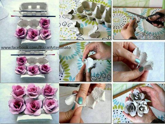 Flores con cartones de huevo
