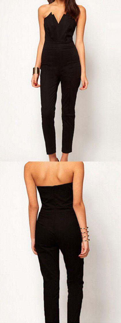 Black Strapless Plunge Slim Jumpsuit