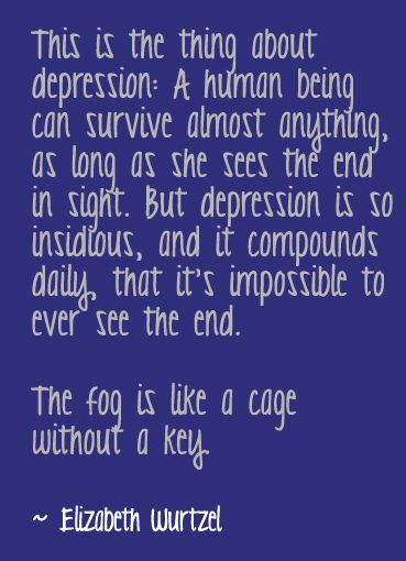 The fog is like a cage without a key. Elizabeth Wurtzel, Prozac Nation