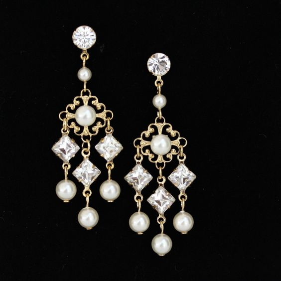 Gold Earrings Wedding, Gold Chandelier earrings, Filigree Drop Earrings, Square Rhinestone Earrings, Ivory Pearl KATRINA. $69.00, via Etsy.