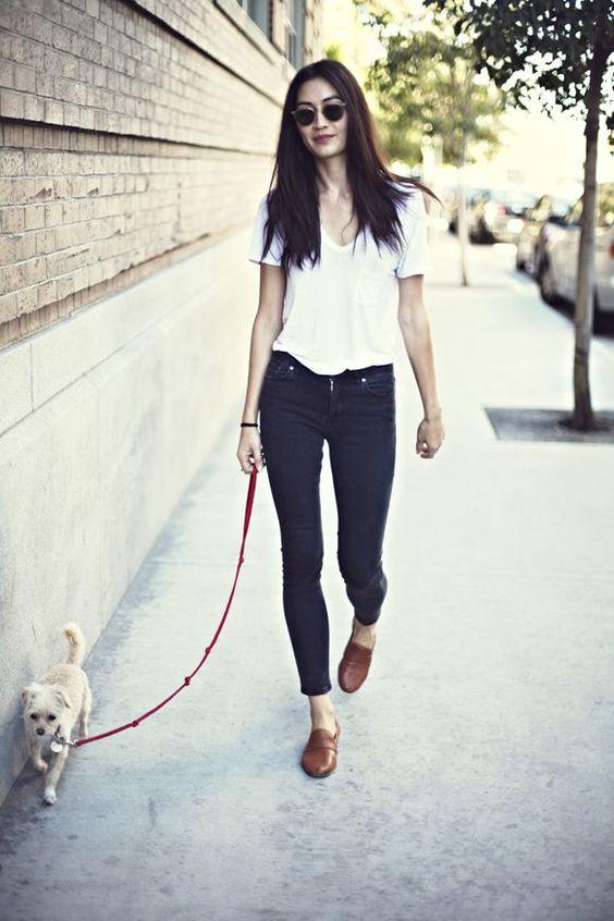 Women's White V-neck T-shirt, Black Skinny Jeans, Brown Leather ...