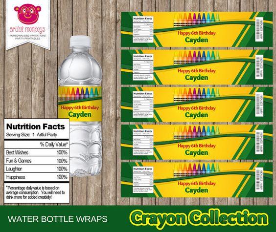 Printable Crayon Art Party Water Bottle Labels  by ArtfulMonkeys