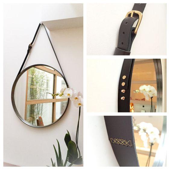 Nobi 24 leather strapped round circular mirror kit for Mirror hanging kit