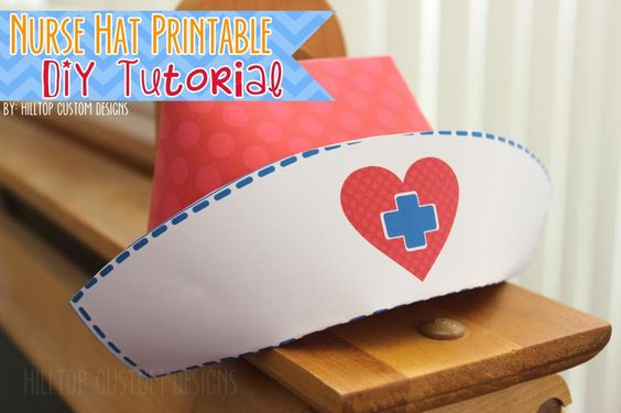This is a photo of Vibrant Printable Nurse Hat Template