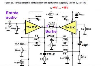 Ampli TDA2030 bridge : schéma