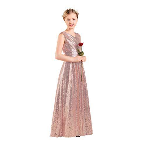 Long Junior Bridesmaid Dress Sequin Flower Girl Dress Ros Https Www Amazon Com Dp B07h Sequin Flower Girl Dress Girls Gold Dress Junior Bridesmaid Dresses