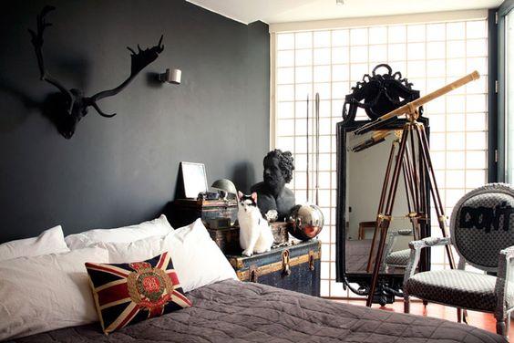 black antlers on black wall: Style Bedrooms, Sherlockbedroom Sherlockdecor, Decor Bedrooms, Bedroom Wall Colors, Black Bedrooms, Dark Bedrooms, Black Wall, Dark Wall, Bedroom Ideas
